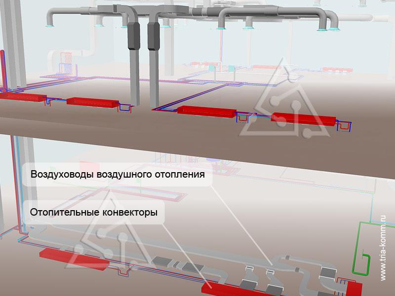 На иллюстрации показан скелет системы воздушного отопления